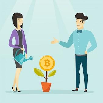Femme d'affaires arrosant des fleurs avec symbole bitcoin