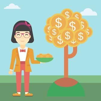 Femme d'affaires attraper des pièces d'un dollar.