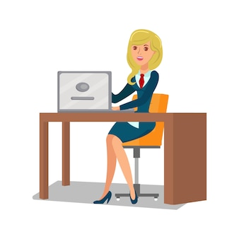 Femme d'affaires au travail plat