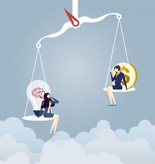 Femme d'affaires sur des balances avec une ampoule et un signe d'argent