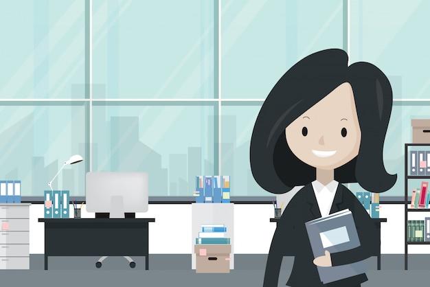 Femme d'affaires de bande dessinée au bureau