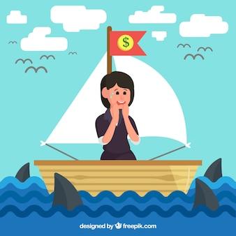 Femme d'affaires en bateau entourée de requins