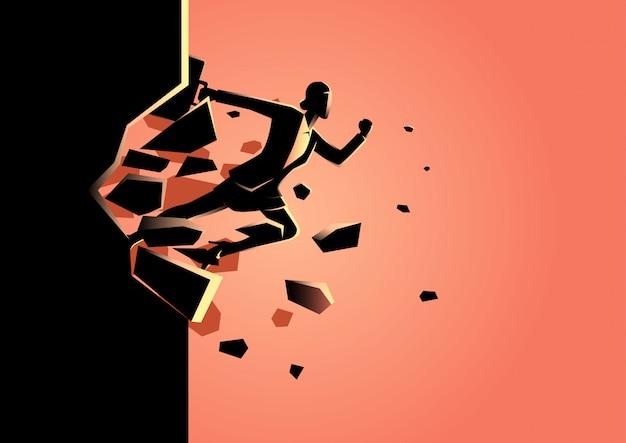 Femme affaires, briser mur