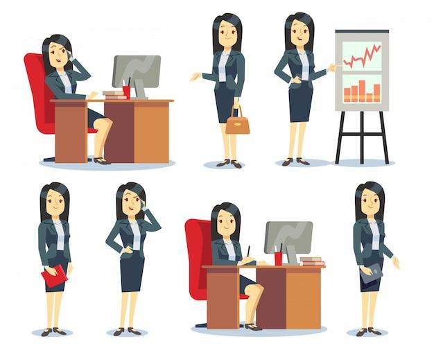 Femme d'affaires de bureau dans diverses situations plat jeu de dessin animé de personnages
