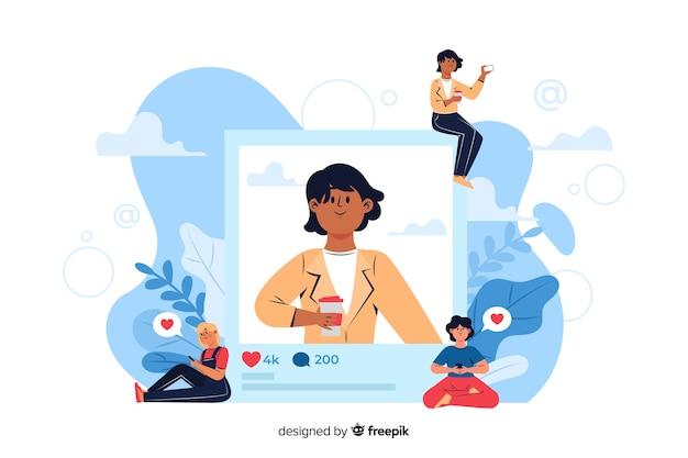 Femme d'affaires avec café poster une photo sur internet