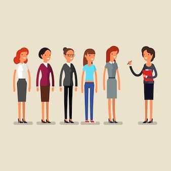 Femme d'affaires choisissant la personne pour l'embauche. emploi et personnel, humain et recrutement, sélection de personnes, ressources et recrutement. illustration plate