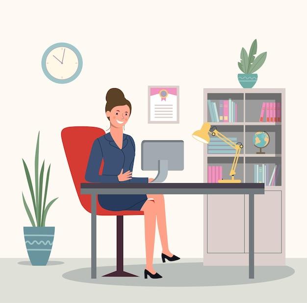 Femme d'affaires ou commis travaillant à son bureau. illustration vectorielle