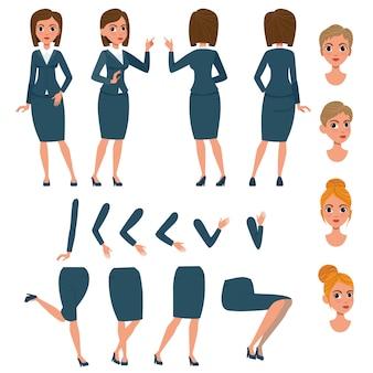 Femme d'affaires en costume formel jeu de caractères