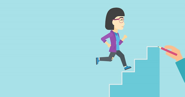 Femme d'affaires en cours d'exécution illustration vectorielle à l'étage