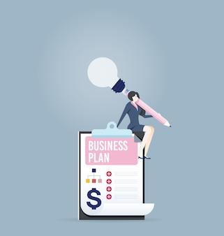 Femme d'affaires créer un plan d'affaires