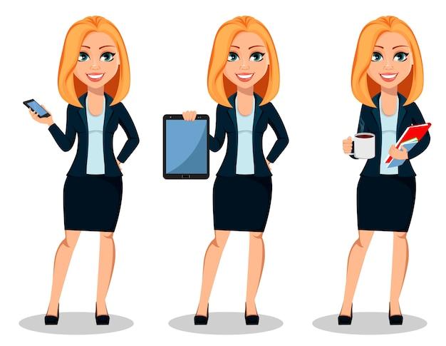 Femme affaires, dans, bureau, style, vêtements