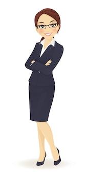 Femme affaires, debout, à, bras croisés, isolé