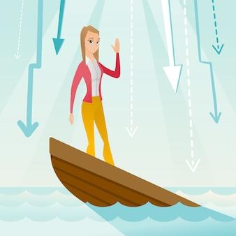 Femme d'affaires debout dans le bateau en perdition.