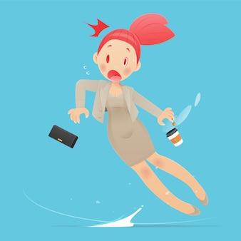 Femme d'affaires de dessin animé en costume marron glissant parce que le sol est mouillé. illustration vectorielle et conception de personnage de dessin animé.