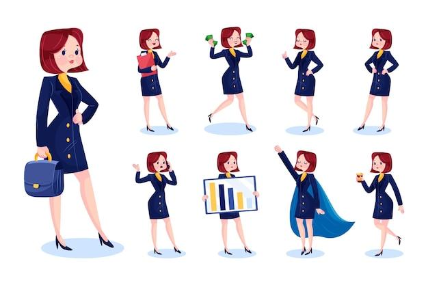 Femme d'affaires de dessin animé dans différentes scènes