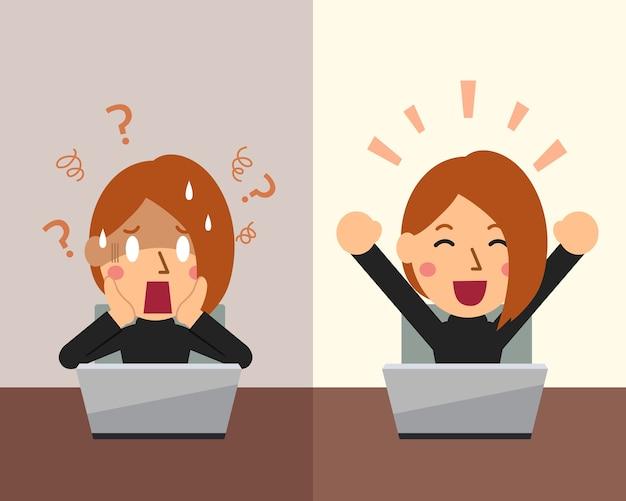 Femme d'affaires de dessin animé exprimant différentes émotions