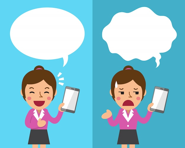 Femme d'affaires de dessin animé avec smartphone exprimant différentes émotions avec des bulles