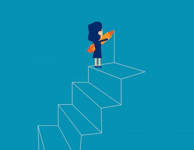 Femme d'affaires dessin contour des étapes