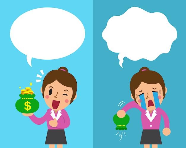 Femme d'affaires de dessins animés exprimant différentes émotions