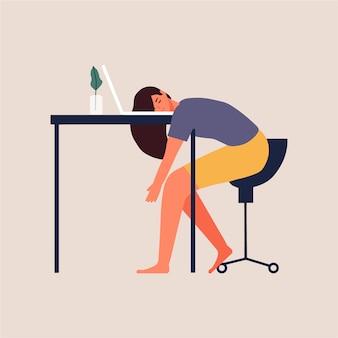 Femme affaires, dormir, ordinateur portable, fatigué, travail, maison, illustration