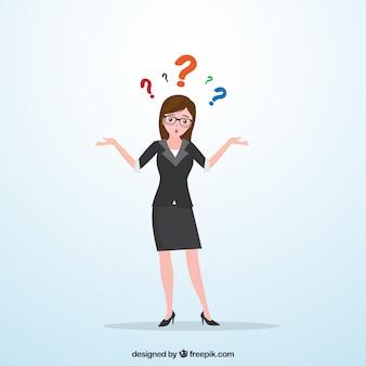 Femme d'affaires avec des doutes