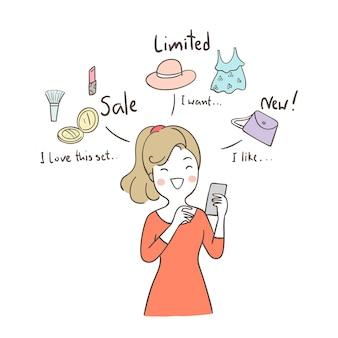 Femme d'affaires drôle à des achats en ligne