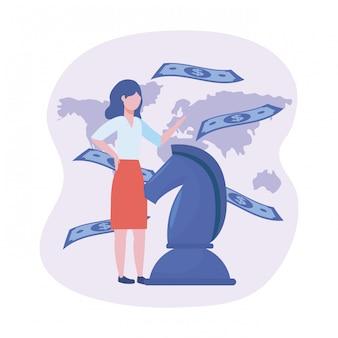 Femme affaires, à, échecs cheval, et, factures, à, carte globale