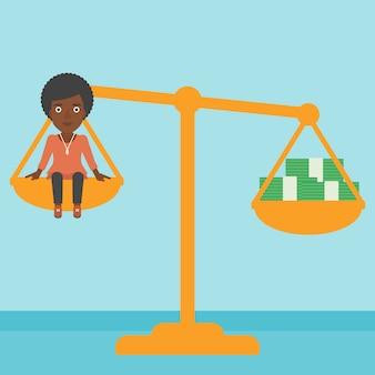Femme d'affaires à l'échelle avec des piles d'argent.