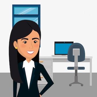 Femme d'affaires élégant dans la scène de bureau