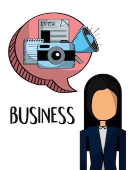 Femme d'affaires avec des éléments de l'entreprise dans le chat bulle