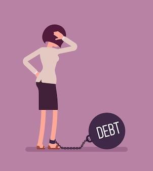 Femme affaires, enchaîné, géant, metall, poids, dette