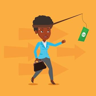 Femme affaires, essayer, attraper, argent, pêche, canne