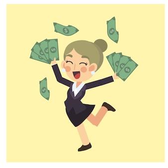 Femme d'affaires est heureuse avec beaucoup d'argent. bonus de gagnant. vecteur de personnage de dessin animé concept entreprise.