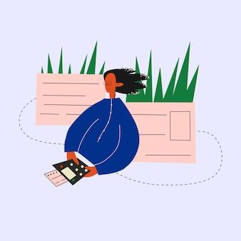 Femme d'affaires ethnique avec caisse enregistreuse en ligne