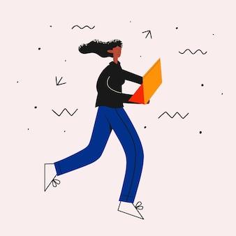 Une femme d'affaires ethnique court avec un ordinateur portable dans le stress du travail