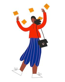 La femme d'affaires ethnique jette des autocollants avec des tâches