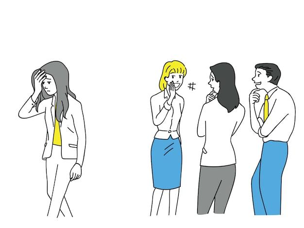 Femme affaires, être, intimidation, employés bureau