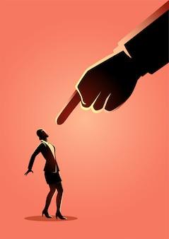 Femme affaires, être, pointé, géant, doigt