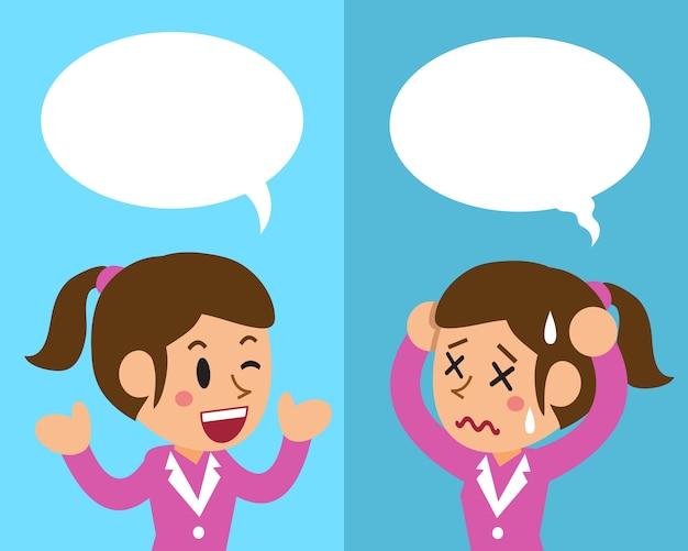 Femme d'affaires exprimant différentes émotions