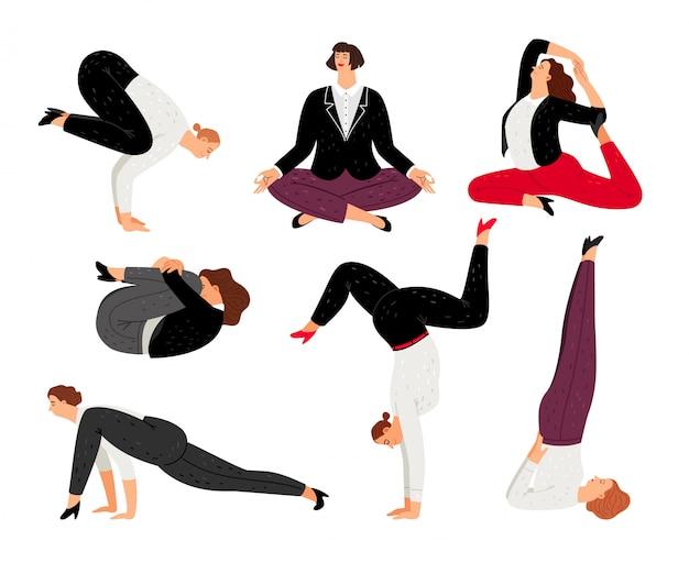 Femme d'affaires faire du yoga, se détendre et méditer