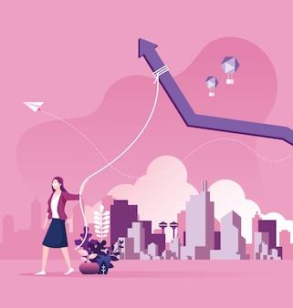 Femme d'affaires font le concept de motivation de croissance des revenus