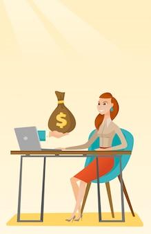 Femme d'affaires gagner de l'argent d'une entreprise en ligne.