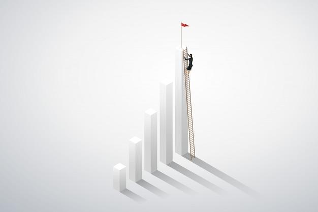 Femme d'affaires grimper à l'échelle jusqu'à sur le succès du graphique.