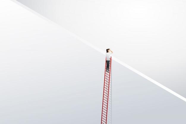 Femme d'affaires grimper à l'échelle pour les opportunités de vision et la réalisation sur le mur.