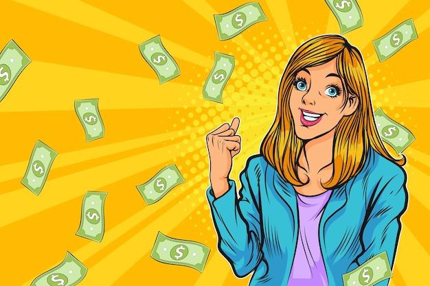 Femme d'affaires heureuse réussie célébrant dans falling down money pop art style bande dessinée rétro