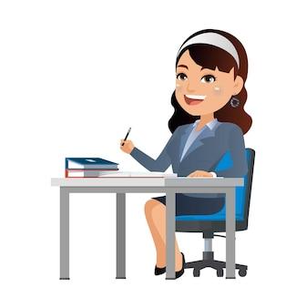 Femme d'affaires heureuse s'asseoir à la table