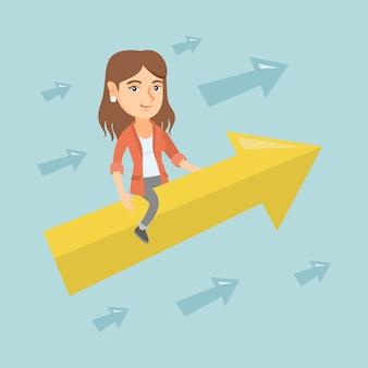 Femme d'affaires heureux volant sur flèche vers le succès.
