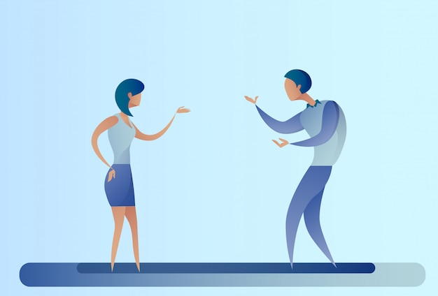 Femme d'affaires et homme d'affaires abstrait parlant de coopération d'équipe
