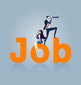 Femme d'affaires et homme d'affaires à la recherche d'un emploi