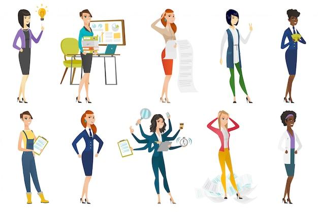 Femme d'affaires, hôtesse de l'air, set de profession de médecin